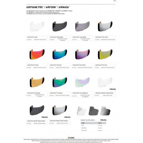 Icon AIRFRAME PRO™ / AIRFORM™ / AIRMADA™ bukósisak plexi - több színben