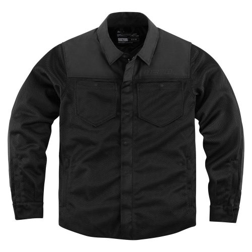 ICON UPSTATE RIDING SHIRT - BLACK motoros kabát